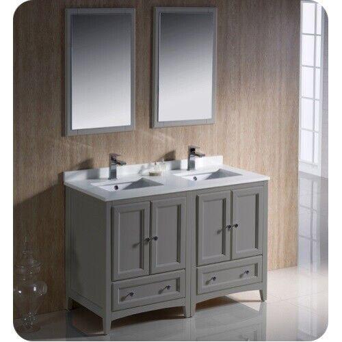 fresca oxford 48 inch gray traditional double sink bathroom vanity for sale online ebay