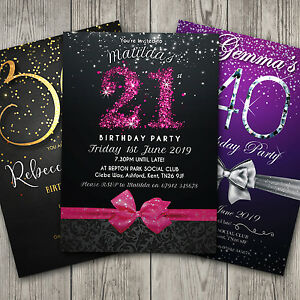 details about birthday invitations personalised party 18th 21st 30th 40th 50th 60th