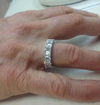 5 carat Emerald cut Diamond Eternity Ring Platinum Band 23 ...
