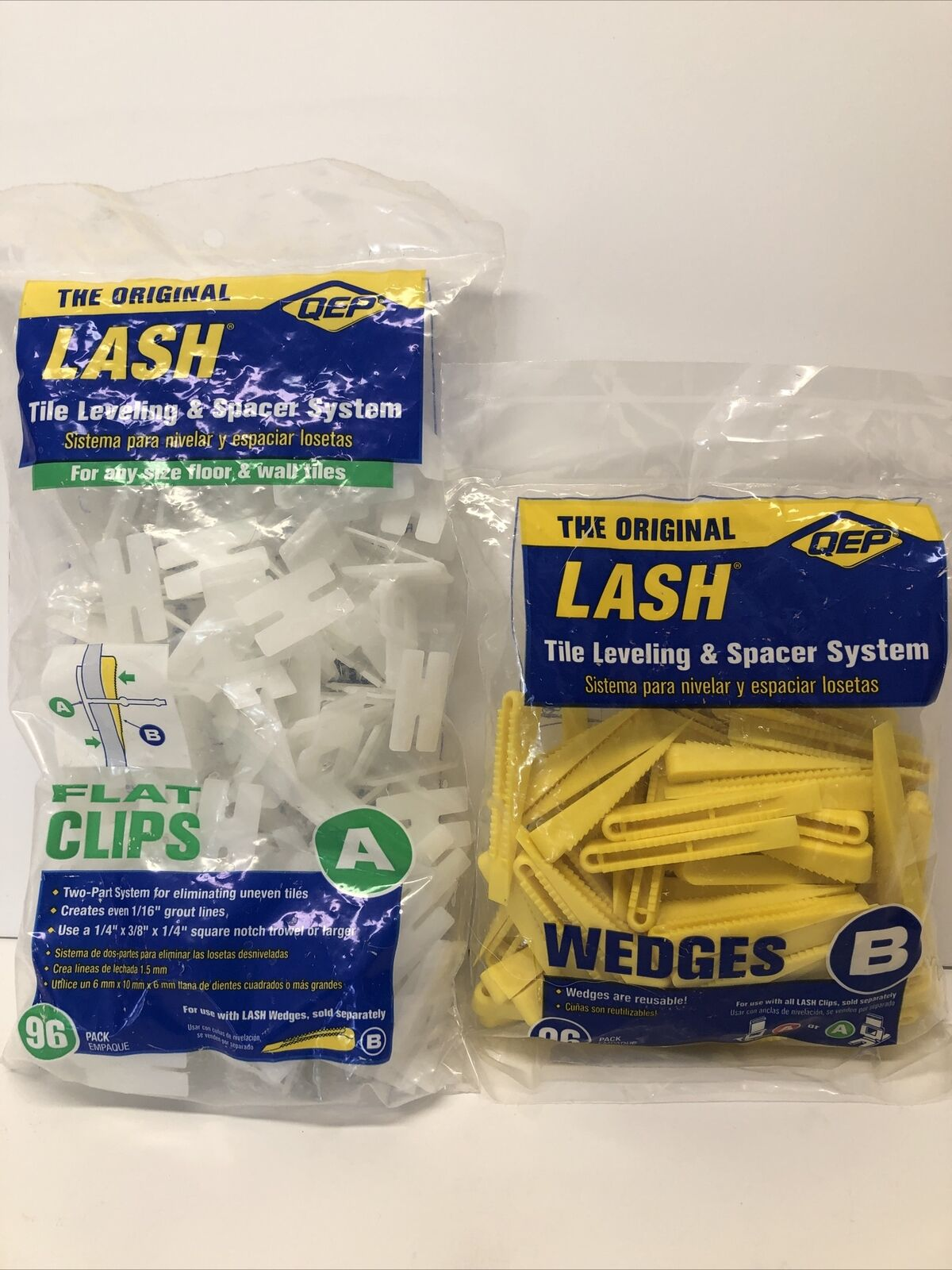 qep lash tile leveling spacer clips any size floor and wall tiles 96 pk