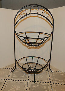 BLACK WROUGHT IRON APPLE FRUIT STORAGE RACK METAL STAND ... on Iron Stand Ideas  id=14684