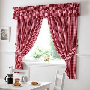 details sur vichy carreaux rouge blanc cuisine rideaux w46 x l48 embrasses inclus