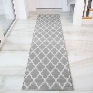 details sur moderne gris taupe trellis tapis de couloir long etroit doux trendy couloir runner tapis afficher le titre d origine