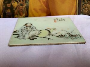 Antique Chinese Famille Rose Figures Porcelain Ceramic Tile Plaques