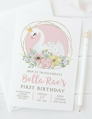 10 personalised princess swan birthday party invitations first 2nd 3rd any age ebay