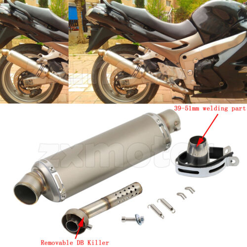motors universal motorcycle exhaust pipe muffler db killer 38 51mm curved tips 17inch auto parts accessories