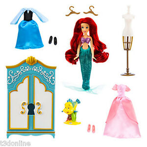 Disney Princess Ariel Little Mermaid Wardrobe Doll Play Set Flounder Figurine Ebay