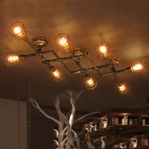 details about industrial rustic cage chandelier vintage plumbing pipe semi flush ceiling light