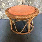 Vintage Mid Century Bamboo Rattan Wicker Ottoman Round Foot Stool Seat Bentwood For Sale Online Ebay