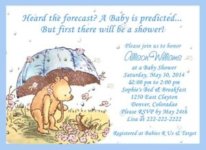 Details About Classic Pooh Umbrella Baby Shower Invitations