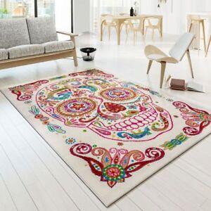 details sur tapis moderne createur tapis multicolore tete de mort squelette multicolour