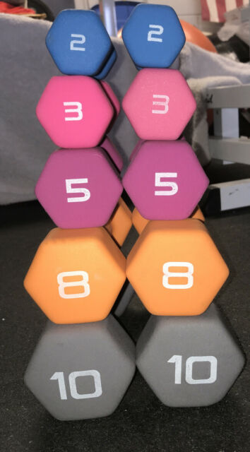 ALL 10 CAP Hex Dumbbells Lot 10, 8, 5, 3, & 2 Lbs Sets ...