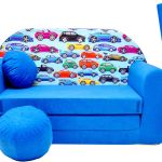 Kids Sofa Bed Beds Children Furniture Velour Cover Free Footstool Cushion Ebay