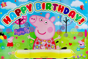 Peppa Pig George Pig Happy Birthday Party Poster Banner