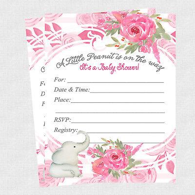 20 Elephant Baby Shower Invitations Cards Decorations Invites Ebay