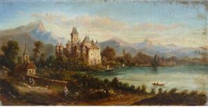 details sur chateau de chillon suisse peinture debut du 19e siecle lac leman painting