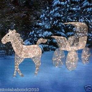 Image Is Loading Christmas Lighted Horse Amp Carriage Sleigh Ice Crystal
