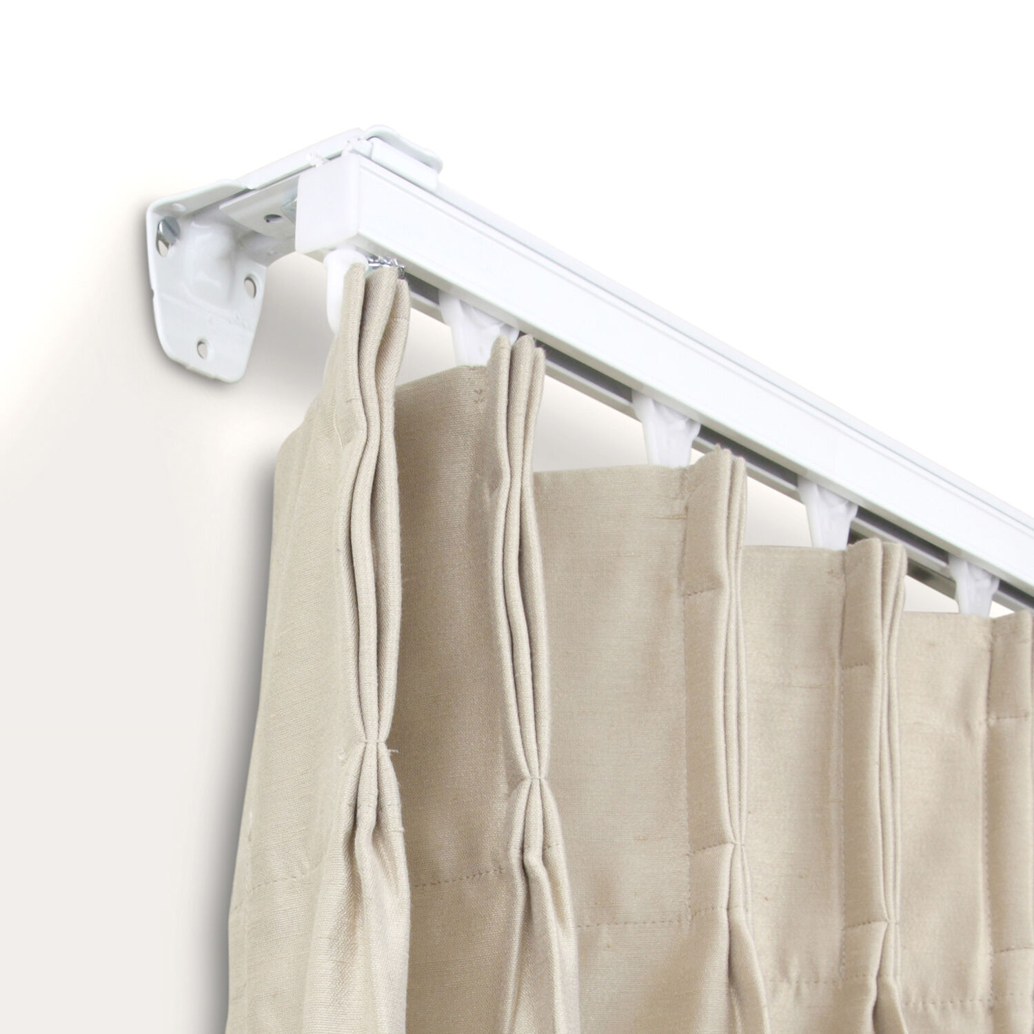 curtain track kit 16 ft composed of two 8ft track white wall mount