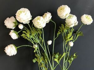 Bunch of Faux Silk White Ranunculus Flowers  Realistic Artificial     Image is loading Bunch of Faux Silk White Ranunculus Flowers Realistic