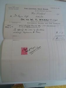 Vintage Invoice Bill Head W T RYAN   THE CENTRAL SALE ROOM     Image is loading Vintage Invoice Bill Head W T RYAN THE CENTRAL