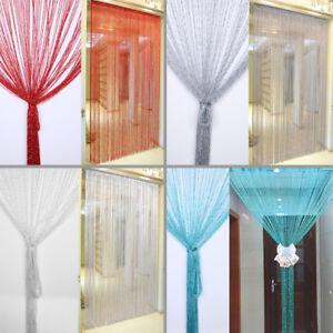 details about silver silk string door window living room kids room kitchen curtain