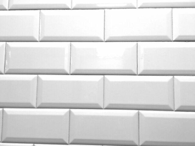white 3x6 beveled shiny glossy ceramic