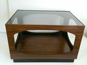 details about vintage mid century modern veneer smoked glass top coffee table w storage tier