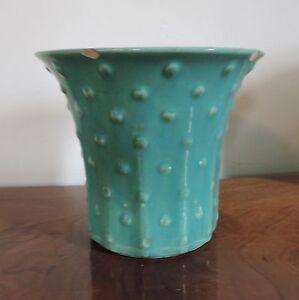 Vintage 1930 1940 Art Deco Pottery Vase Sea Foam Green Polka Dot Urn Flower Pot EBay