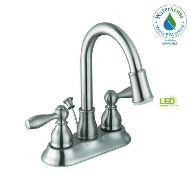 glacier bay centerset bathroom faucet 4 in 2 handle led light brushed nickel