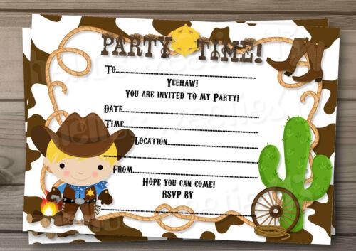 feste besondere anlasse personalised child cowboy western birthday party invitations mobel wohnen raizlatina com br
