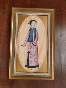Japanese geisha hand painted picture on silk