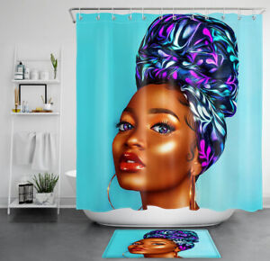 details about african american women shower curtain sets afro black girl for bathroom decor