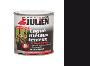 details sur peinture fer 0 5l noir brillant julien fericolor antirouille laque metaux ferreu