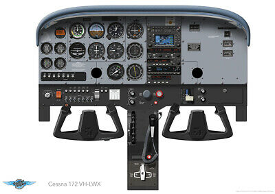 cessna 172 panel print vh lwx laminated poster a0 a1 a2 or a3 sizes ebay