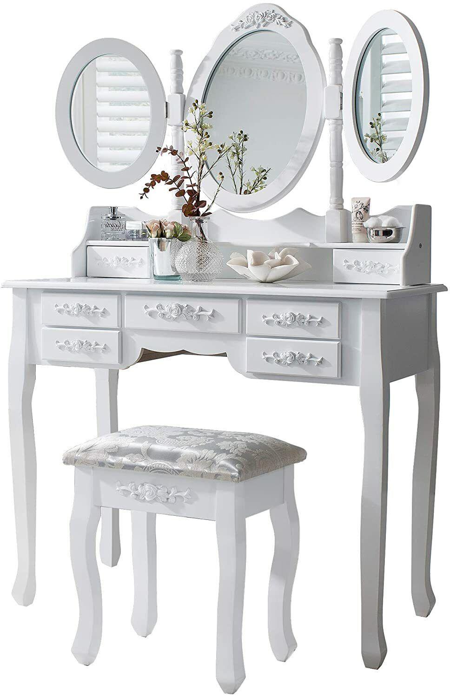 white dressing table 7 drawers 3 mirrors stool bedroom vanity set makeup desk