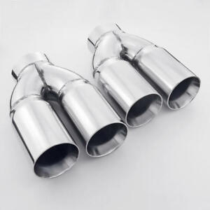 details about dual wall twin 3 inch outlet 3 inlet straight cut stainless steel exhaust tips
