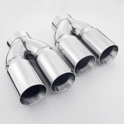 dual wall twin 3 inch outlet 3 inlet straight cut stainless steel exhaust tips ebay