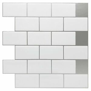 details about art3d 10 sheets vinyl stick on tiles 12 x12 peel and stick subway tile shiny