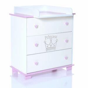 details sur commode avec table de langer bebe bois rangement pour chambre enfant princess 68