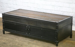 details about vintage industrial lift top coffee table handmade reclaimed wood and steel