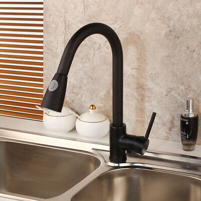 kitchen faucet 360 swivel black pull out spray sink mixer single handle hole tap ebay
