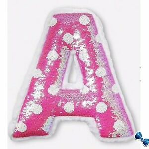 details about justice girls initial d polka dot flip sequin pillow nee with tags