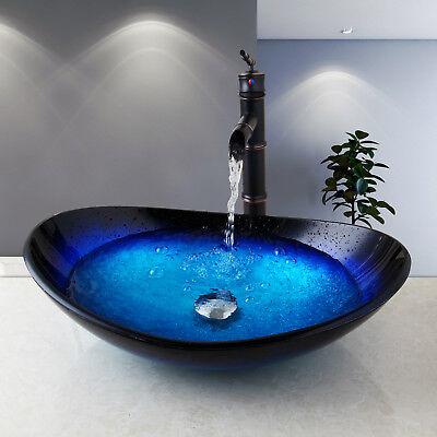 bathroom vanity glass vessel sink with black oil waterfall mixer faucet set ebay