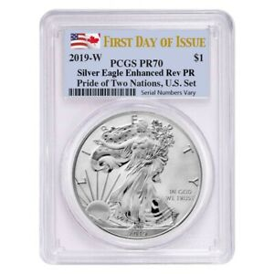 Sale Price - 2019 W 1 oz Rev. Silver Eagle PCGS PF 70 FDOI Pride of Two Nations