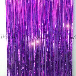 details about purple metallic foil fringe tinsel curtain wedding backdrop xmas party