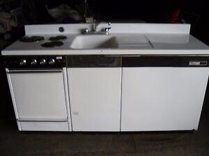 Dwyer Vintage Kitchen Kitchenette Stove Sink Refrigerator Cabinet Porcelain EBay