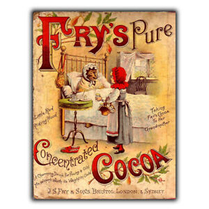 sign metal wall plaque fry s pure cocoa