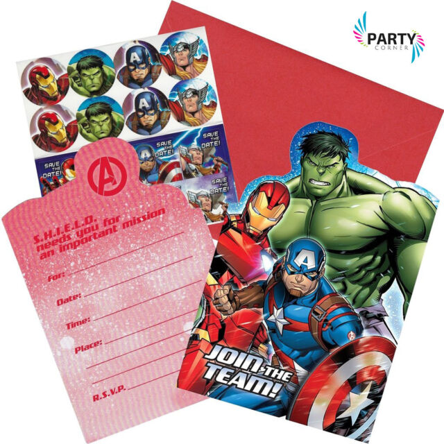 avengers birthday party supplies invitations invites pack of 8