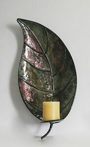 METAL LEAF WALL MOUNTED CANDLE HOLDER SCONCE FOR MODERN ... on Wall Mounted Candle Sconce id=37051