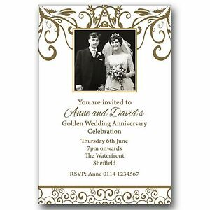 Details About 10 Personalised Photo Invitations 50th Golden Wedding Anniversary M170